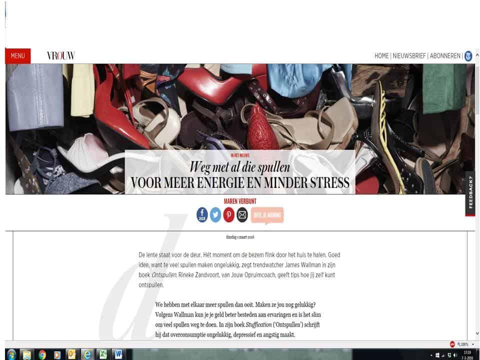 Printscreen interview Jouw opruimcoach op Vrouw.nl